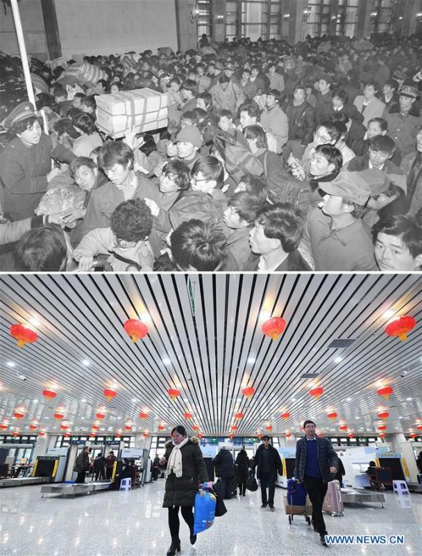This combo photo shows passengers queuing up to board the trains at the Beijing Railway Station during the Spring Festival travel season in Beijing, capital of China, Jan. 12, 1993 (top, photo taken by Tang Zhaoming); and passengers prepare to board the trains after security check at the Lanzhou Railway Station in Lanzhou, northwest China\'s Gansu Province, Jan. 20, 2019 (bottom, photo taken by Chen Bin). (Xinhua)