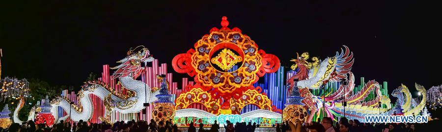 Photo taken on Feb. 5, 2019 shows dragon-shaped and phoenix-shaped lanterns at a lantern fair held in Zigong, southwest China\'s Sichuan Province. Over 130 lantern groups were displayed at the event. (Xinhua/Zhang Chaoqun)