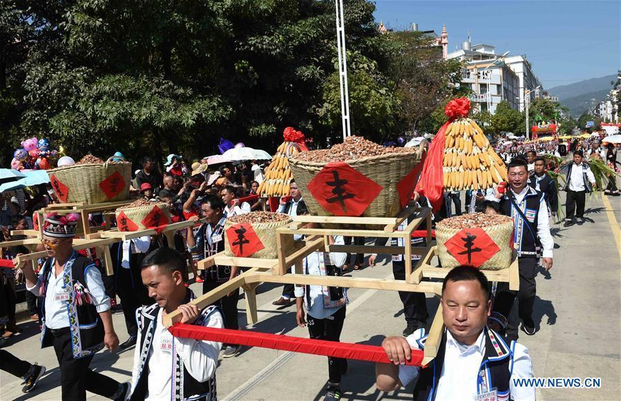 People display harvests during a parade at Lancang Lahu Autonomous County in Pu\'er City, southwest China\'s Yunnan Province, Feb. 7, 2018. People of ethnic groups wearing their traditional festive costumes took part in a parade to celebrate the Chinese Lunar New Year in Lancang Lahu Autonomous County. (Xinhua/Yang Zongyou)