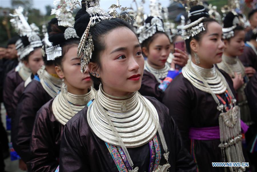 People of Dong ethnic group prepare to perform during the Spring Festival holiday in Dingdong Village of Qiandongnan Miao and Dong Autonomous Prefecture, southwest China\'s Guizhou Province, Feb. 8, 2019. (Xinhua/Long Linzhi)