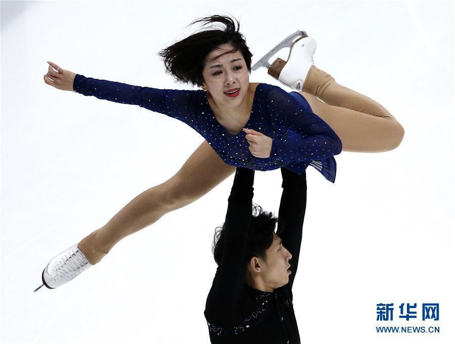 Sui Wenjing and Han Cong perform during the pairs free skate competition at the Four Continents Figure Skating Championships in Anaheim, U.S., on Feb. 9, 2019. (Photo/Xinhua)