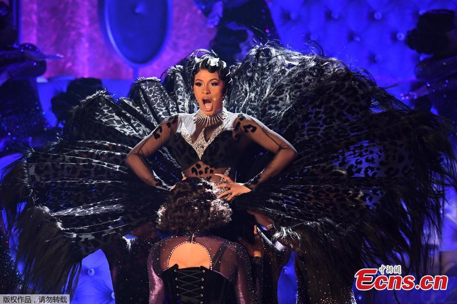 Cardi B performs at the 61st Grammy Awards in Los Angeles, California, U.S., Feb. 10, 2019. (Photo/Agencies)