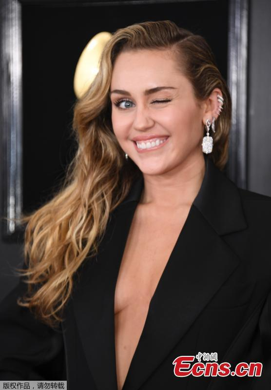 Miley Cyrus arrives for the 61st Grammy Awards in Los Angeles, California, U.S., Feb. 10, 2019. (Photo/Agencies)