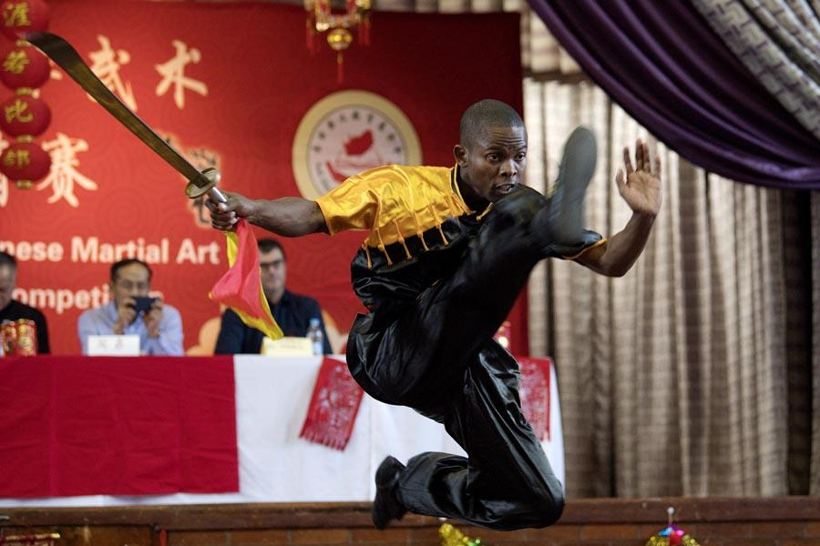 A competitor at a martial arts competition in Johannesburg on Saturday.  (PHOTO/XINHUA)