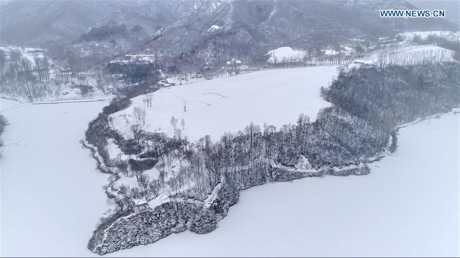 Aerial photo taken on Feb. 12, 2019 shows a snow view of the Yudu Mountain in Yanqing District of Beijing, capital of China. A snowfall hit Beijing on Tuesday. (Xinhua/Wei Lai)