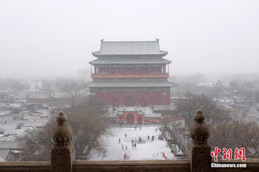Photo taken on Feb. 12, 2019 shows a snow view in Beijing, capital of China. A snowfall hit Beijing on Tuesday.  (Photo/China News Service)