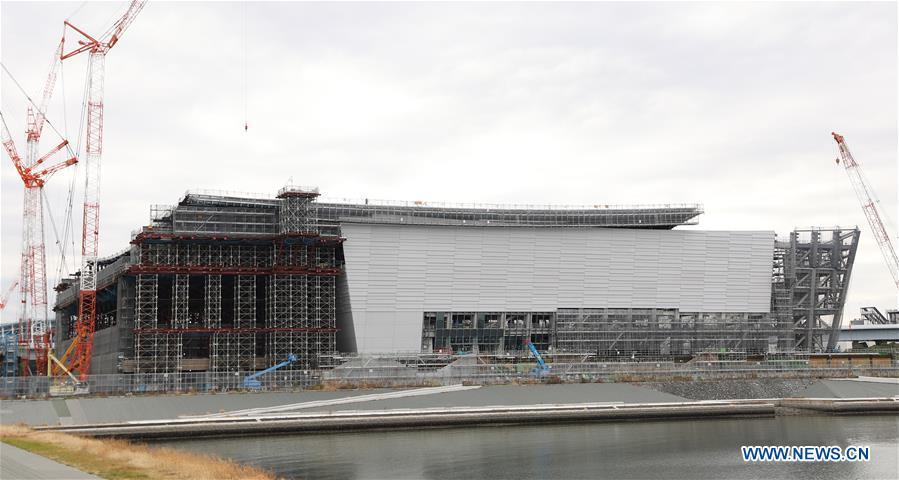 Ariake Arena, one of the Tokyo 2020 Olympic Games venues, is under construction in Tokyo, Japan, on Feb. 12, 2019. This venue for volleyball games has been finished 51% construction works till the end of last month. (Xinhua/Du Xiaoyi)