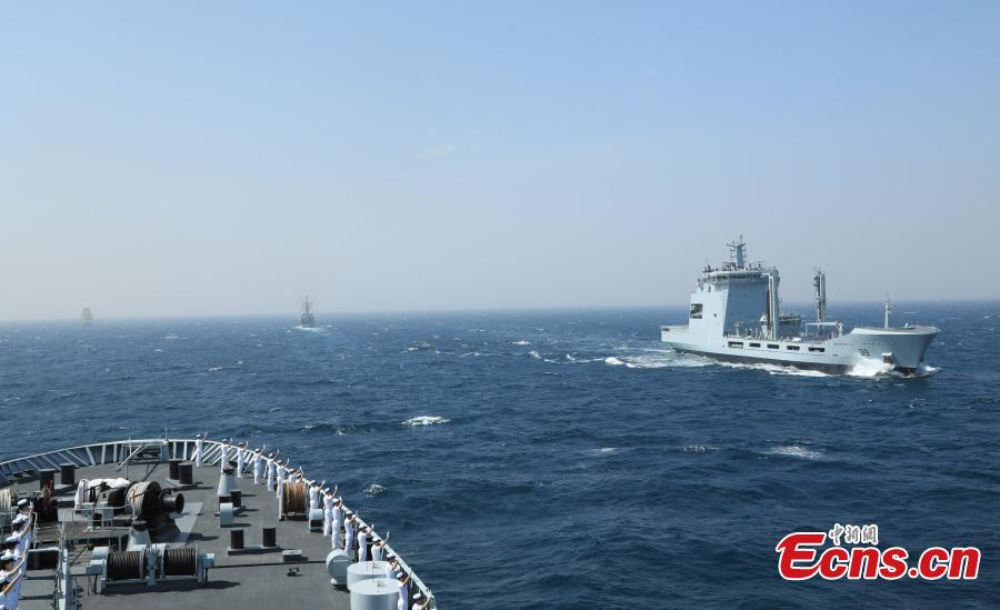Ships participating in the multinational military drill Peace-19 held in the waters off Karachi, Pakistan from Feb. 11 to 12. The drill undertook 23 programs including ship supply and maneuvers against a pirate attack (Photo: China News Service/Xue Chengqiang)