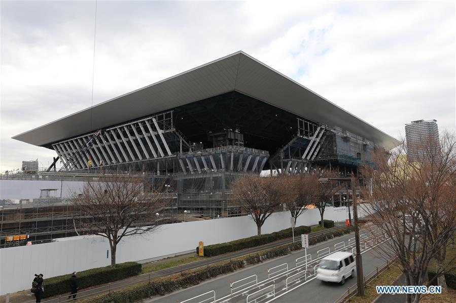 Tokyo Aquatics Centre, one of the Tokyo 2020 Olympic Games venues, is under construction in Tokyo, Japan, on Feb. 12, 2019. This venue for swimming, diving and other aquatics games has been finished 55% construction works till the end of last month. (Xinhua/Du Xiaoyi)