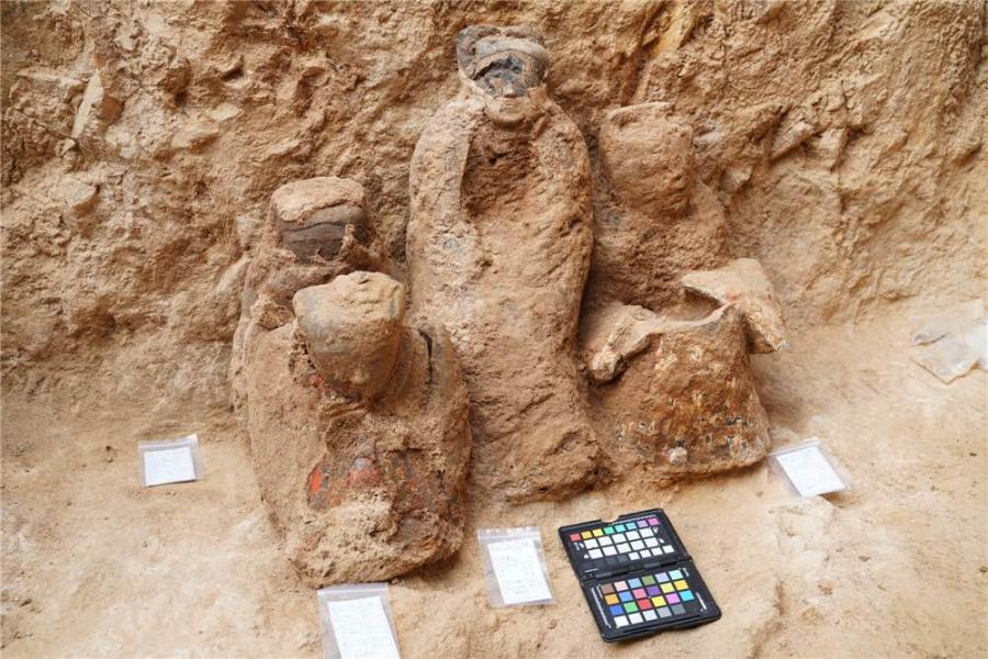 A collection of painted terracotta was discovered in Pingdu, a county-level city in Qingdao, Shandong Province (Photo by Peng Yu/for chinadaily.com.cn)