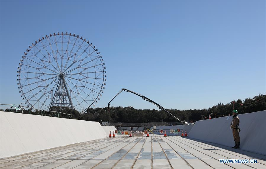 Kasai Canoe Slalom Centre, one of the Tokyo 2020 Olympic Games venues, is under construction in Tokyo, Japan, on Feb. 12, 2019. This venue for canoe slalom games has been finished 74% construction works till the end of last month. (Xinhua/Du Xiaoyi)