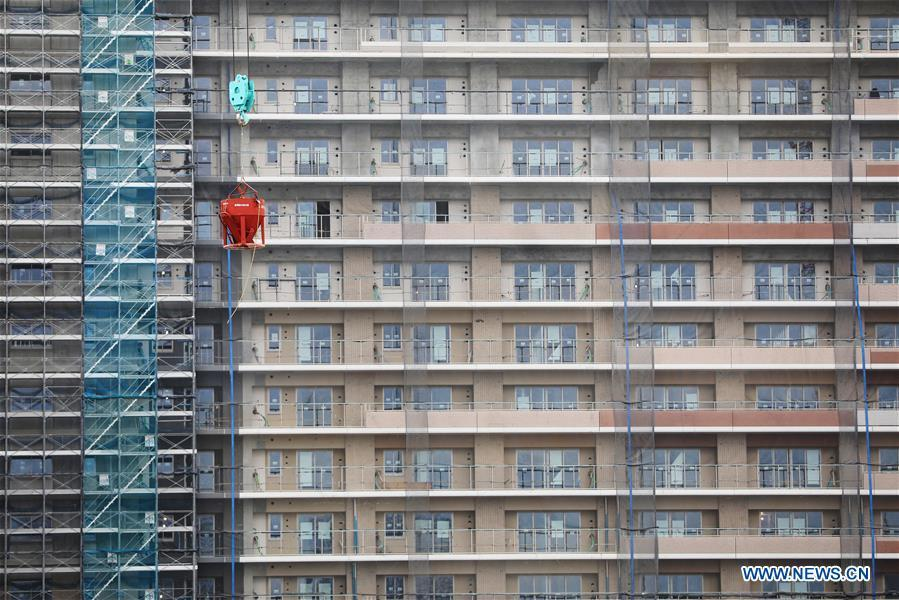 The athletes\' village of the Tokyo 2020 Olympic Games is under construction in Tokyo, Japan, on Feb. 12, 2019. (Xinhua/Du Xiaoyi)