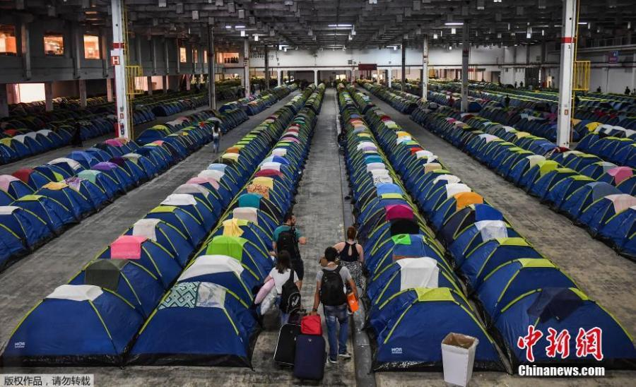 Tents fill the camping area at the Campus Party technology festival, in Sao Paulo, Brazil, Feb. 12, 2019. Campus Party is an annual week-long, 24-hour technology festival that gathers developers, gamers and computer enthusiasts. (Photo/Agencies)