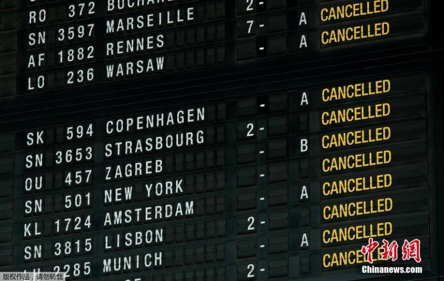 Photo shows flight information board displaying cancelled flights during a strike by Belgian trade unions at Zaventem international airport in Brussels, Belgium, Feb. 13, 2019. All flights in and out of Belgium have been cancelled for a day due to strike action, the country\'s air traffic control has announced on Tuesday. (Photo/Agencies)