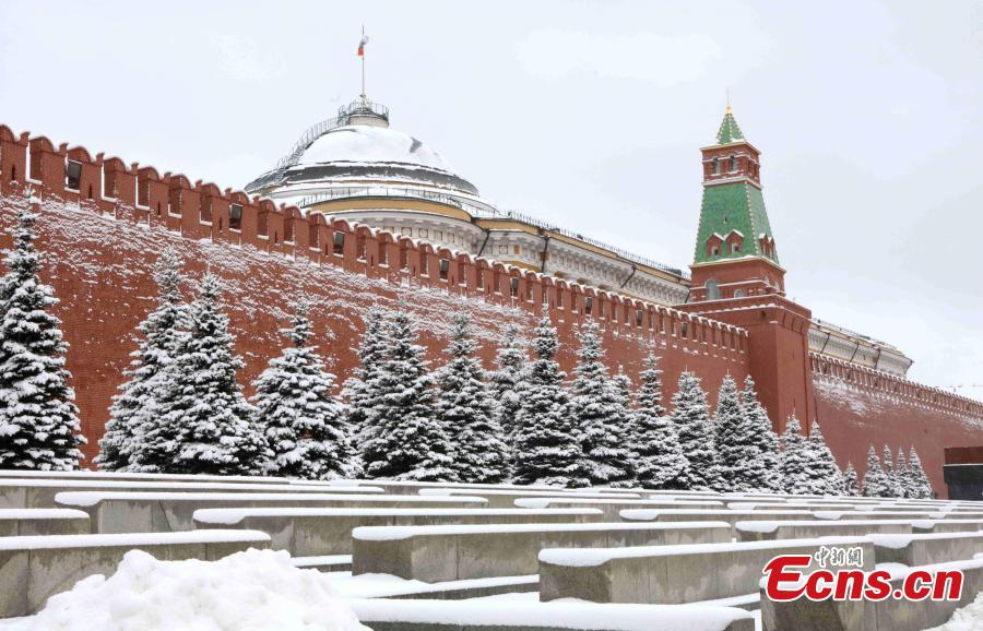 Photo shows the snow scenery in Moscow, Russia, on Feb. 13. 2019. A recent snowfall resulted in 11 mm of precipitation in Moscow on Wednesday.  (Photo/China News Service)