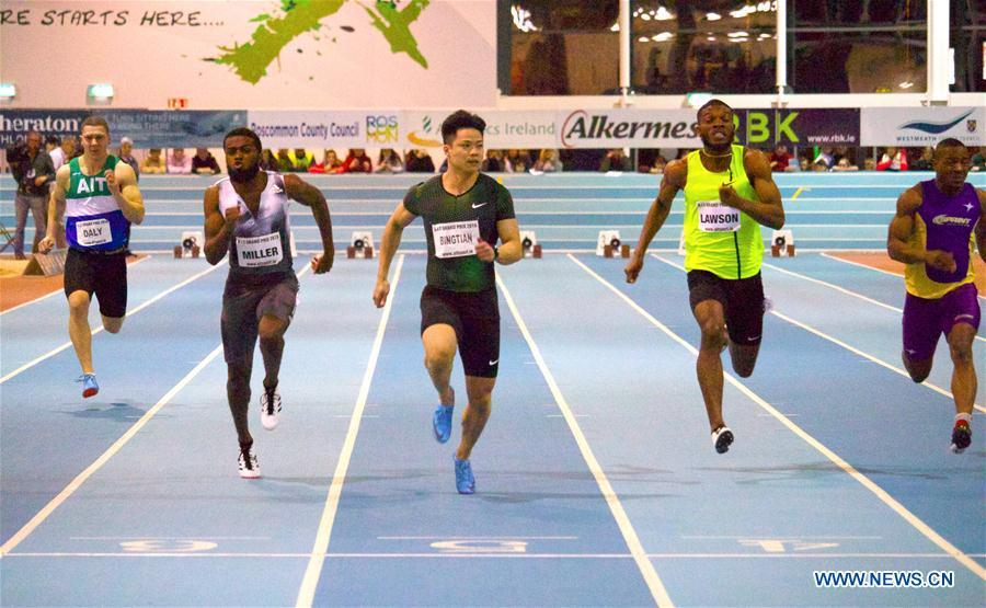 Su Bingtian (3rd, L) of China competes in the heat of the men\'s 60m competition at AIT International Indoor Grand Prix 2019 in Athlone, central Ireland, Feb. 13, 2019. Su Bingtian of China won the men\'s 60m final with 6.52 seconds at AIT International Indoor Grand Prix 2019 on Wednesday night. (Xinhua)