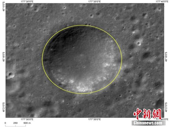 Image shows Hegu, one of the three small craters that form a triangle around Chang\'e-4\'s landing site. (Photo/China News Service)