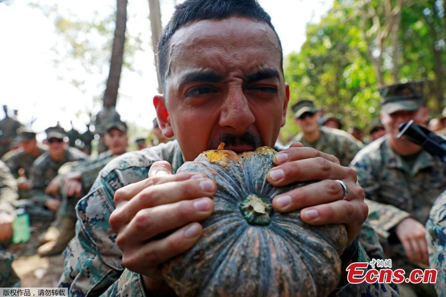 A soldier eats a fruit during the Cobra Gold multilateral military exercise in Chanthaburi, Thailand, Feb. 14, 2019. (Photo/Agencies)