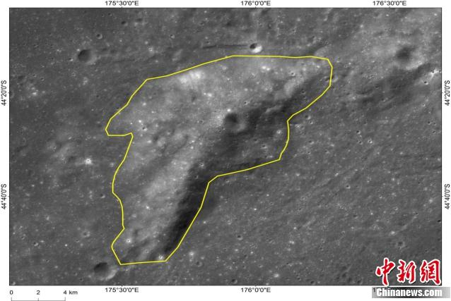 Image shows Mons Tai, which is 46 kilometers to the northwest of the Chang\'e-4 landing site. (Photo/China News Service)