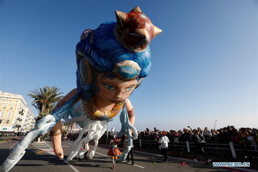 A float is seen during the parade of Nice Carnival with the theme \