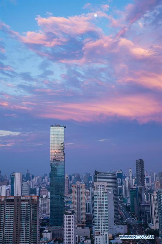 The photo shows King Power MahaNakhon skyscraper under a clear sky after rainfall in Bangkok, Thailand, Feb. 17, 2019. The rainfall helped to improve the air quality in Bangkok. (Xinhua/Zhang Keren)