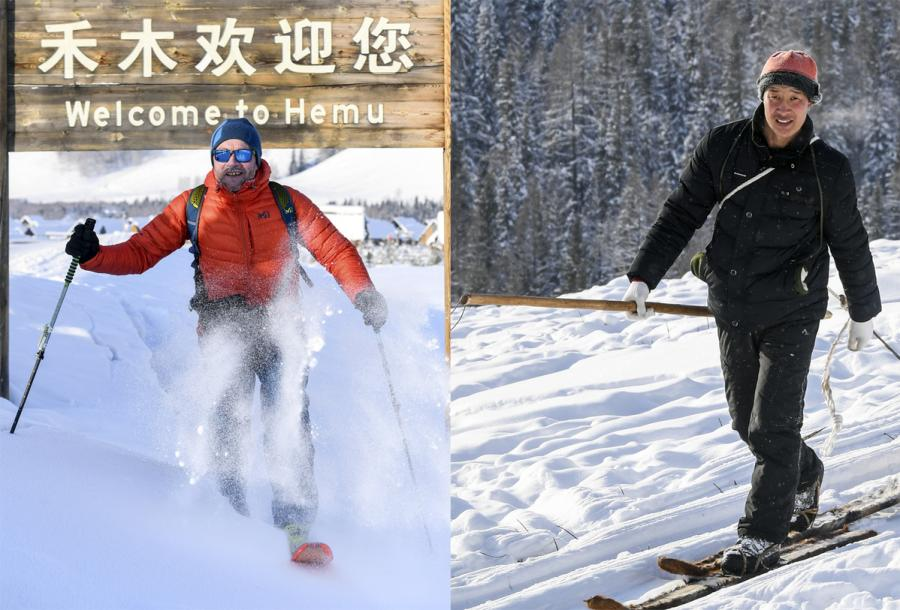 A man from Europe (left) skiing in Hemu, Xinjiang with modern skis and Hemu villager Mamani (right) on his traditional fur skis. (Photo/Xinhua)