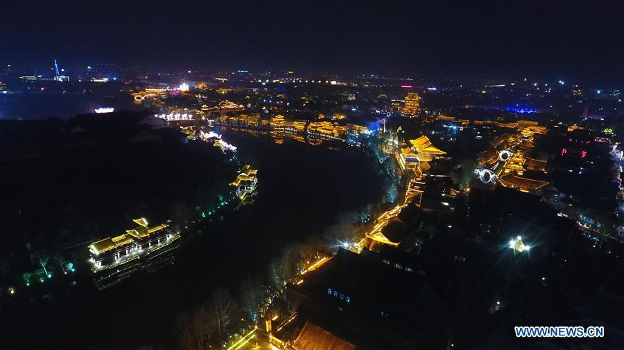 Aerial photo taken on Feb. 16, 2019 shows the night view of the ancient town of Taierzhuang in east China\'s Shandong Province. (Xinhua/Wang Kai)
