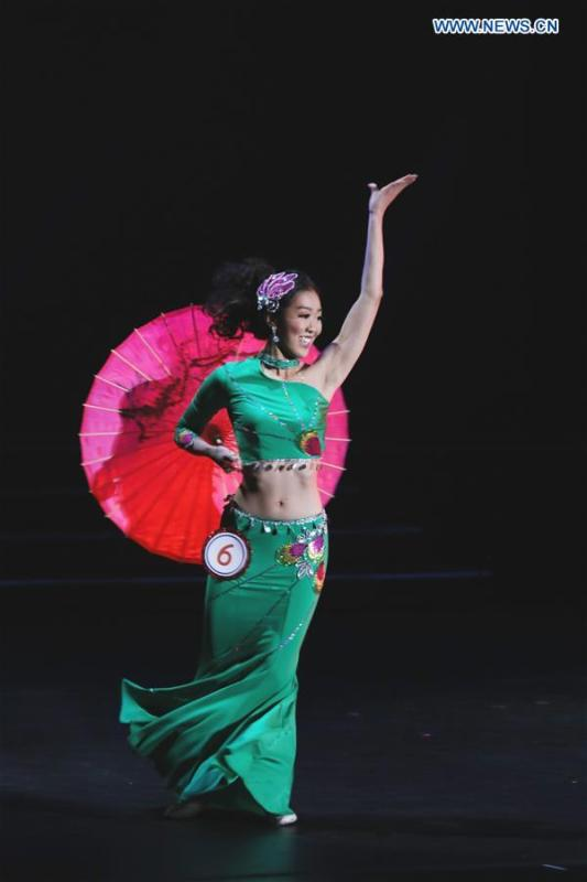 Champion of the 2019 Miss Chinatown U.S.A. Pageant Katherine Wu performs dancing during the competition in San Francisco, the United States, Feb. 16, 2019. A total of 12 contestants took part in the final competition organized by San Francisco Chinese Chamber of Commerce. (Xinhua/Liu Yilin)