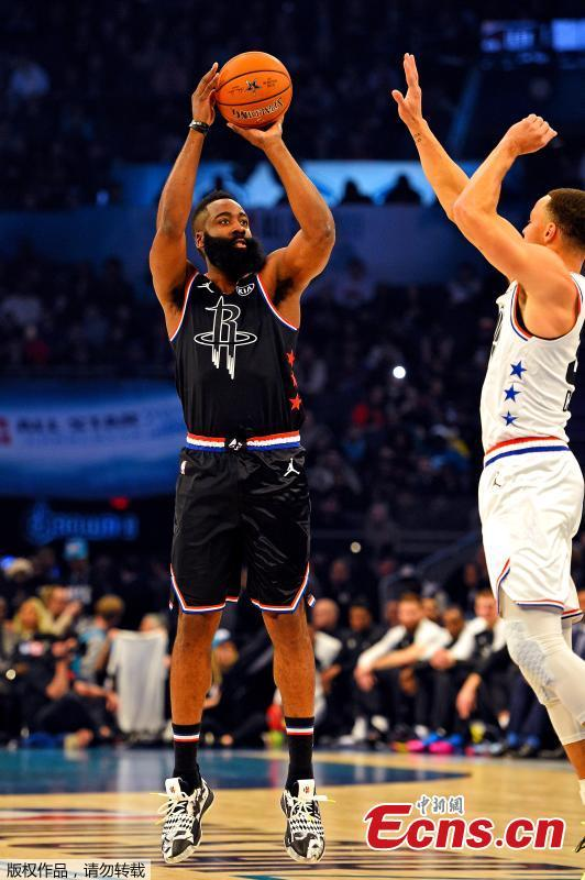 Team LeBron, down by 20 in the second half, finally got firing and went on to beat Team Giannis 178-164 in the 2019 NBA All-Star Game at Spectrum Center, Charlotte, North Carolina, Feb. 17, 2019. (Photo/Agencies)
