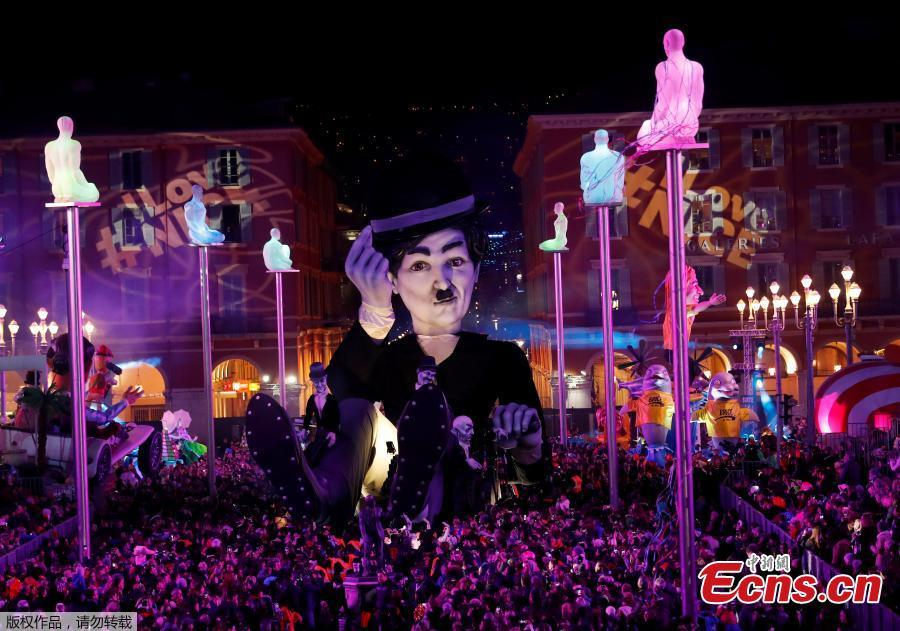 A float with a giant figure of Charlie Chaplin is paraded through the crowd during the 135th Carnival parade in Nice, France, Feb. 16, 2019. (Photo/Agencies)