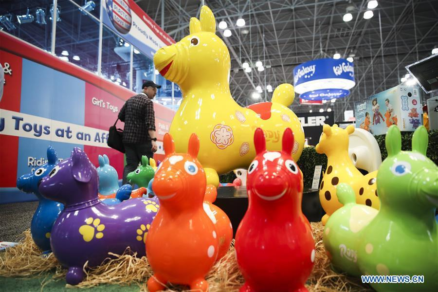 Colorful child\'s riding toys are displayed at the 116th Annual North American International Toy Fair at the Jacob K. Javits Convention Center in New York, the United States, Feb. 16, 2019. The toy fair, held from February 16 to 19 this year, gathered more than 1,000 toy exhibitors and hundreds of thousands of toys and youth entertainment products to retail outlets and trade guests from over 100 countries and regions. (Xinhua/Wang Ying)