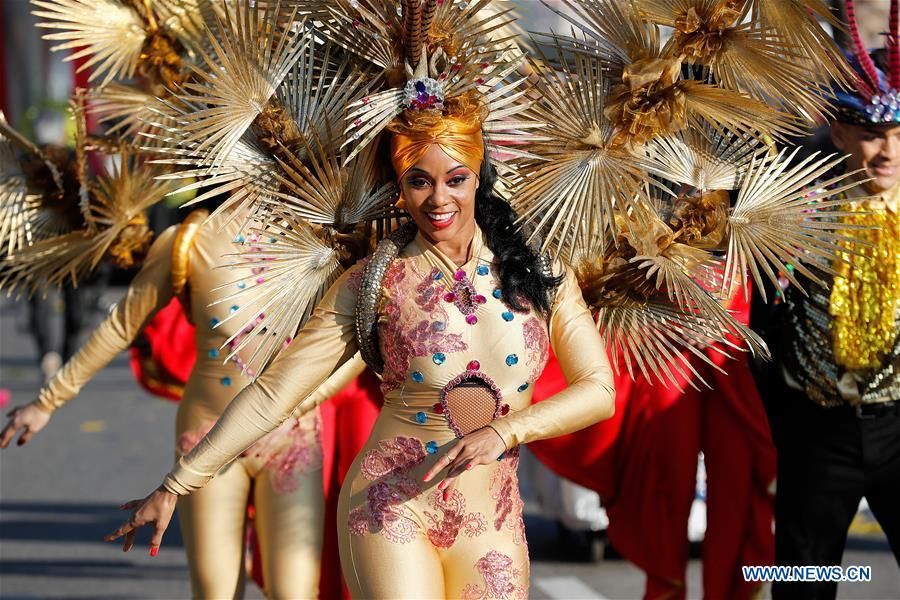 Performers take part in a parade of Nice Carnival with the theme \