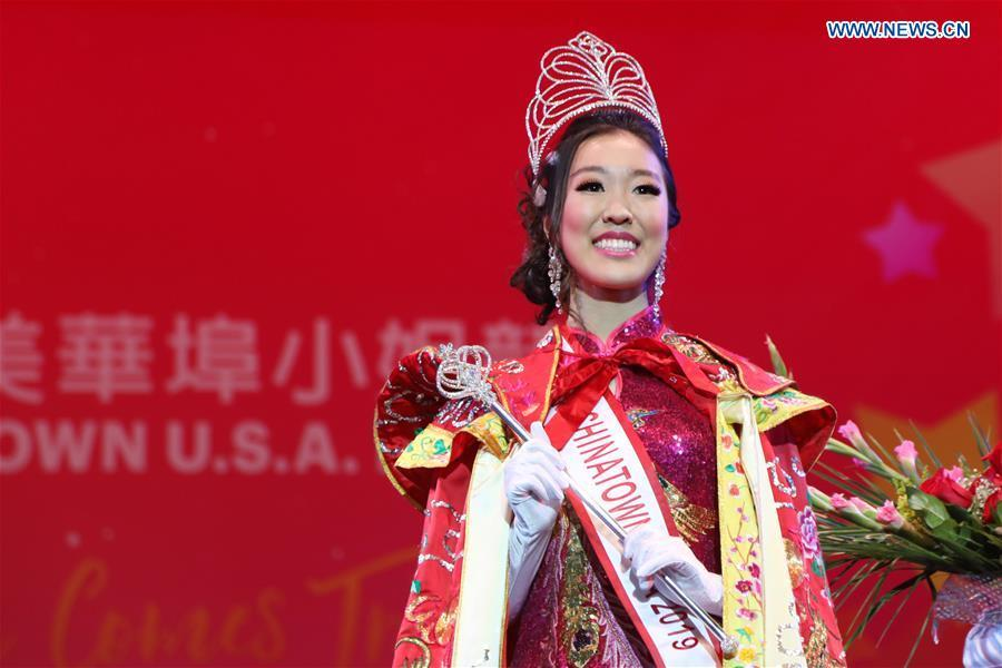 Katherine Wu wins the champion during the final of the 2019 Miss Chinatown U.S.A. Pageant in San Francisco, the United States, Feb. 16, 2019. A total of 12 contestants took part in the final competition organized by San Francisco Chinese Chamber of Commerce. (Xinhua/Liu Yilin)