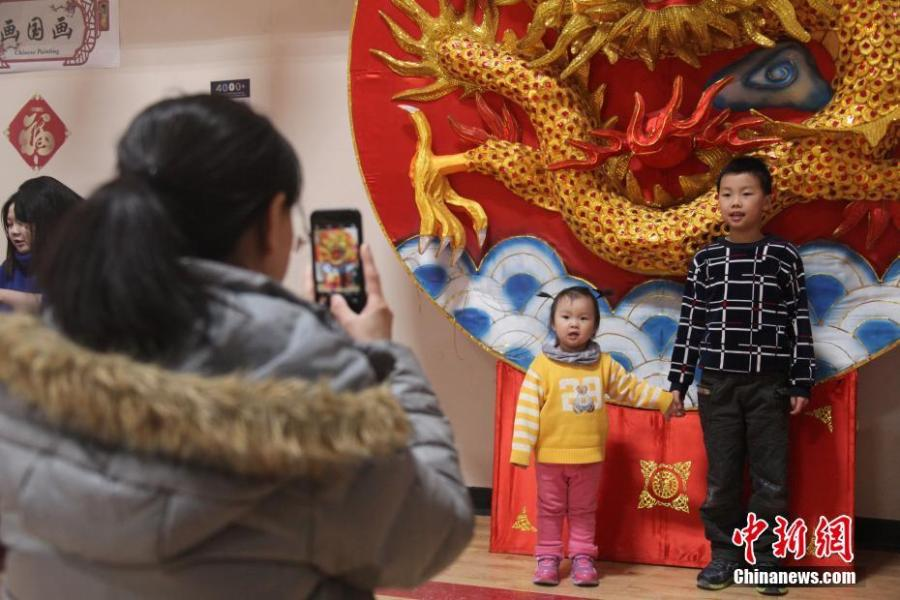 Visitors pose for photos with Chinese lanterns during the 2019 Toronto Qinhuai Lantern Festival in Toronto, Canada, on Feb. 18, 2019. Featuring 23 large festive lanterns from China and lots of traditional Chinese festival activities, the 2019 Toronto Qinhuai Lantern Festival kicked off here on Monday.  (Photo: China News Service: Yu Ruidong)