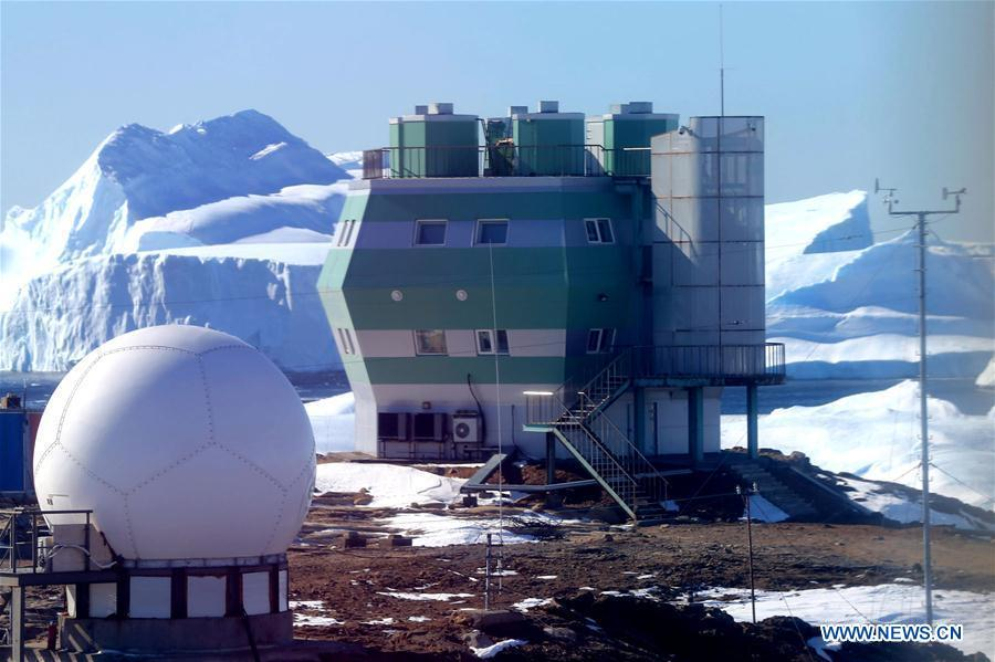 Photo taken on Feb. 14, 2019 shows icebergs near the Zhongshan Station, a Chinese research base in Antarctica. The Zhongshan Station was set up in February 1989. Within tens of kilometers to the station, ice sheets, glacier and iceberg can all be seen. (Xinhua/Liu Shiping)