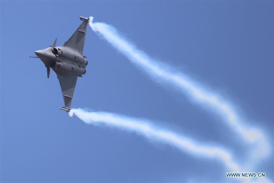 Rafale, a French fighter aircraft, attends the Aero India Show 2019 rehearsal over the Yelahanka air base in Bangalore, India, on Feb. 18, 2019. The five-day Aero India Show 2019 will start on Feb. 20. (Xinhua)