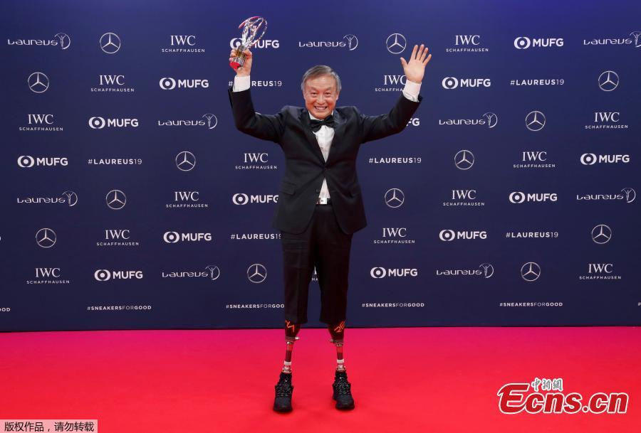 Chinese climber Xia Boyu poses as he celebrates winning the Sporting Moment of the Year award at Laureus World Sports Awards in Salle des Etoiles, Monaco, Feb. 18, 2019. (Photo/Agencies)