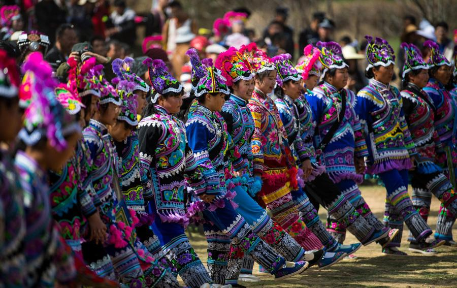Villagers dance at the festival on Feb. 19, 2019.  (Photo/Xinhua)