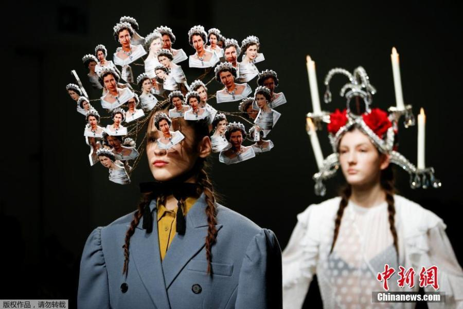 A model presents a creation adorned with images of Britain\'s Queen Elizabeth II during the pushBUTTON catwalk show at London Fashion Week Women\'s A/W19 in London, February 19, 2019. (Photo/Agencies)