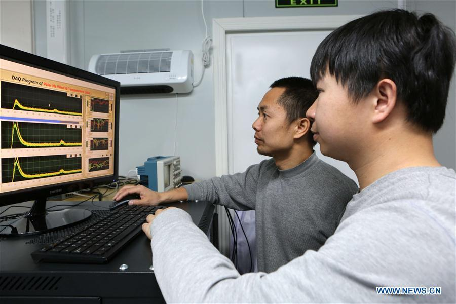 Members of China\'s 35th research mission in Antarctica check data of a fluorescence Doppler lidar system at the Zhongshan Station, a Chinese research base in Antarctica, Feb. 11, 2019. Chinese researchers have installed and tested a fluorescence Doppler lidar system at a research base in Antarctica during a mission that was just concluded last week and are now heading home. The system run at Zhongshan Station had enabled them to simultaneously observe the temperature and the three-dimensional wind field in the atmospheric region mesopause above Antarctica, exploring the middle and upper atmosphere of the polar cusp region. (Xinhua/Liu Shiping)