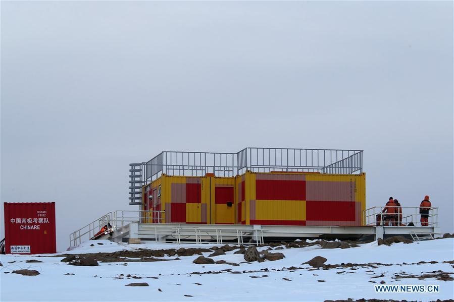 Photo taken on Feb. 11, 2019 shows the cabin of a fluorescence Doppler lidar system at the Zhongshan Station, a Chinese research base in Antarctica. Chinese researchers have installed and tested a fluorescence Doppler lidar system at a research base in Antarctica during a mission that was just concluded last week and are now heading home. The system run at Zhongshan Station had enabled them to simultaneously observe the temperature and the three-dimensional wind field in the atmospheric region mesopause above Antarctica, exploring the middle and upper atmosphere of the polar cusp region. (Xinhua/Liu Shiping)
