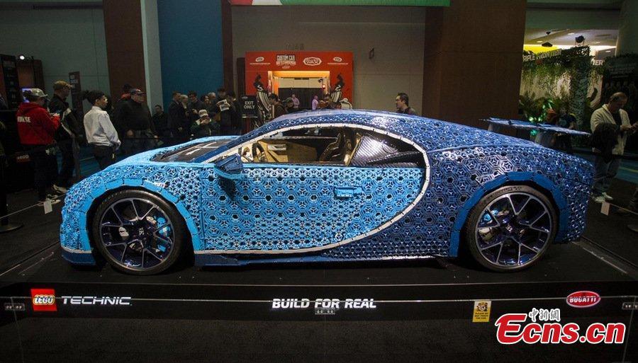 Drivable full-size Bugatti Chiron model made of LEGO Technic elements seen at Toronto Auto Show 2019, Feb. 19, 2019. (Photo/China News Service)