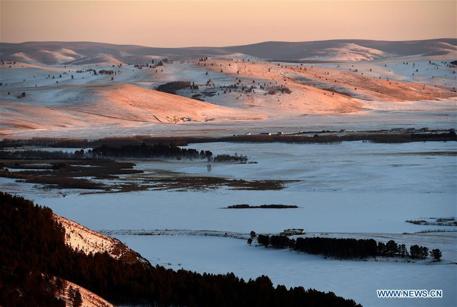 Photo taken on Feb. 20, 2019 shows a view of the Moheertu national wetland park in Ewenki Autonomous Banner of Hulun Buir, north China\'s Inner Mongolia Autonomous Region. (Xinhua/Ren Junchuan)