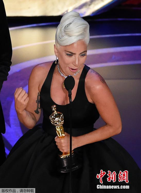 Lady Gaga accept the award for best original song for Shallow from A Star Is Born during Hollywood and Highland in Hollywood, California, U.S., February 24, 2019.  (Photo/Agencies)