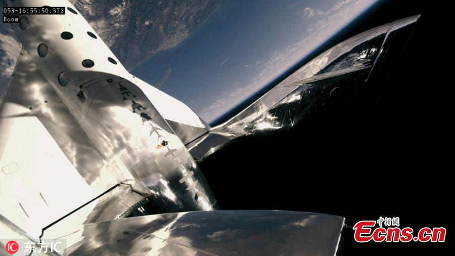 Virgin Galactic\'s SpaceShipTwo took off from the Mojave Desert on Feb. 22, 2019 for its fifth supersonic test flight, and the second to reach an altitude of approximately 50 miles above Earth\'s surface - the point at which NASA astronauts are granted their wings. For the first time, the flight included a passenger as well as two pilots. (Photo/IC)