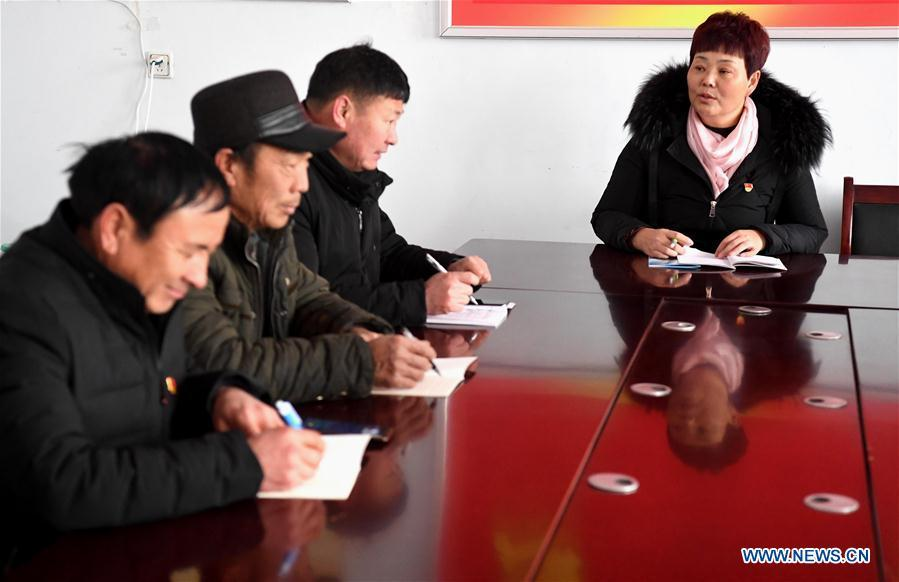 Ge Shuqin(R), deputy to the 13th National People\'s Congress, takes part in a meeting with other village cadres in Xiangyangzhuang Village, Tangyin County of Central China\'s Henan Province, Feb. 14, 2019. As a secretary of the Communist Party of China local branch in Xiangyangzhuang Village, Ge has sticked to her position for over 30 years and devoted herself to leading villagers to make a good living. (Xinhua/Li An)