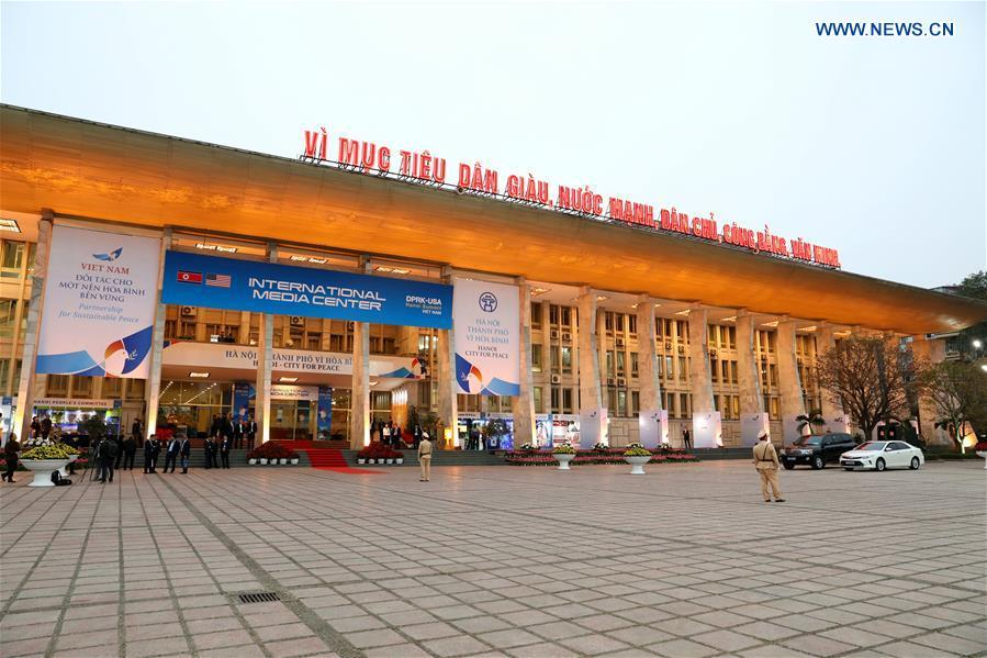 Photo taken on Feb. 24, 2019 shows the exterior of the International Media Center for the second summit between the Democratic People\'s Republic of Korea (DPRK) and the United States in Hanoi, Vietnam. The second DPRK-U.S. summit is scheduled to be held in Hanoi on Feb. 27-28. (Xinhua/Wang Di)