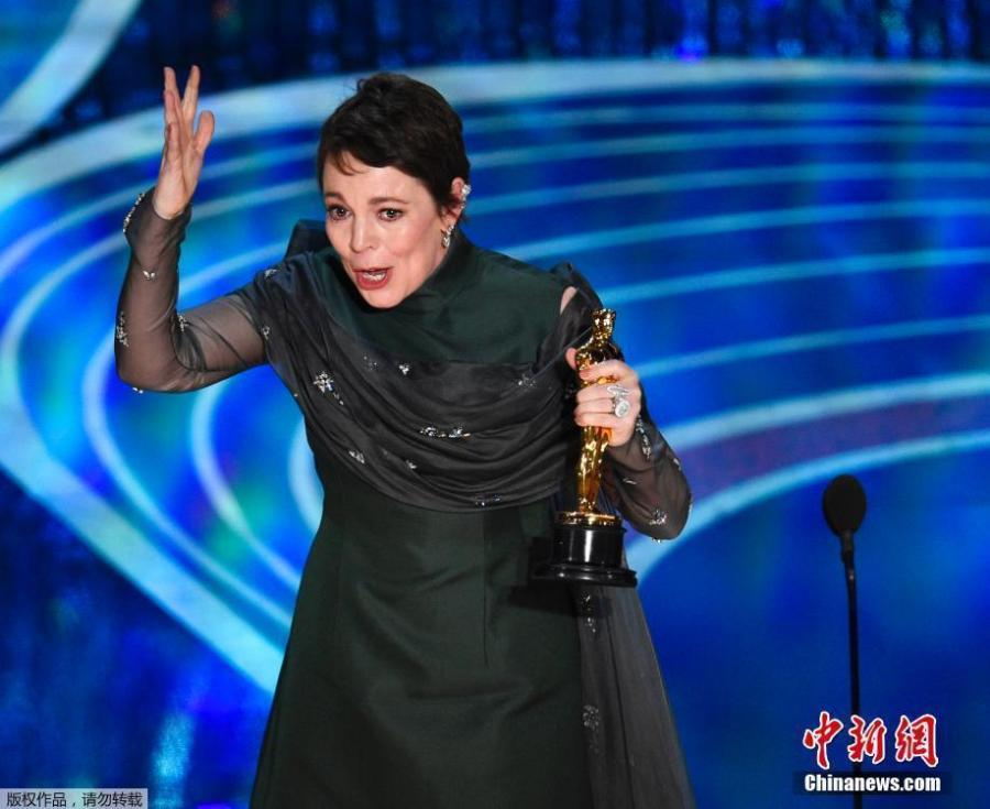 Olivia Colman accepts the award for best performance by an actress in a leading role for The Favorite at the Oscars on Sunday, Feb. 24, 2019.  (Photo/Agencies)
