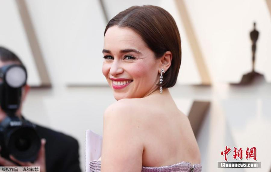 Actress Emilia Clarke arrives for the 91st annual Academy Awards ceremony at the Dolby Theatre in Hollywood, California, United States, Feb. 24, 2019. (Photo/Agencies)
