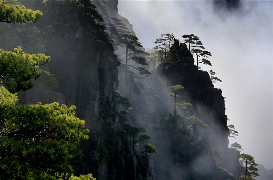 A view of Huangshan Mountain after the snowy weather in East China\'s Anhui Province, Feb. 19, 2019. (Photo/Asianewsphoto)  Rain Water, the second solar term of the year, signals the increase in rainfall and rise in temperature. With its arrival, lively spring-like scenery starts blossoming: the river water defreezes, wild geese move from south to north, and trees and grass turn green again.  Huangshan Mountain scenic spot witnesses a beautiful sight of clouds after the snow stop.